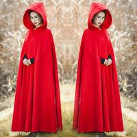 Womens Retro Wool Blend Hooded Shawl Cloak Coat Casual Full Length Overcoat