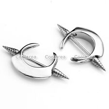 Pair Surgical Steel Blade Spike Barbell Bar 16G Shield Nipple Ring Body Piercing