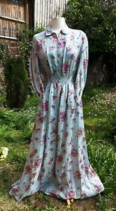 Vintage 1940s/ 1950s KAY SIDNEY Ladies Floral Rayon Housecoat. UK 8-10. Fashion