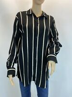 Zara Oversized Black Beige Striped Boho  Elegant Button Up Shirt Blouse Size L