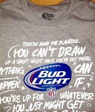 BUD LIGHT BEER NFL Mens T-SHIRT Size Large FOOTBALL Gray Short Sleeve New