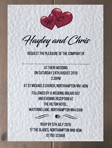 10 Personalised Wedding Invitations Day or Evening Invites With Free Envelopes