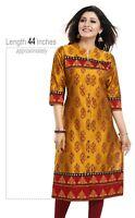 Women Indian Kurti Tunic Kurta Shirt 3/4 Sleeves Silk Short Dress MM247