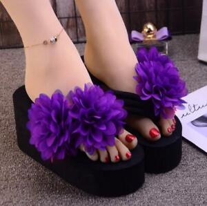 Women Flower Decor Platform High Wedge Heel Slip on Slippers Shoes Casual Sandal