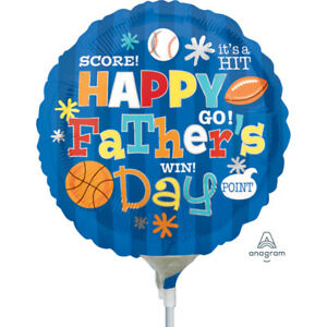 """Happy Fathers Day Sports Mini 9"""" Foil Balloon on Stick"""
