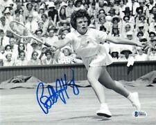BILLIE JEAN KING SIGNED 8x10 PHOTO WIMBLEDON TENNIS LEGEND BECKETT BAS