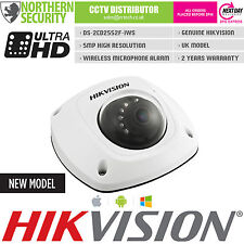 HIKVISION DS-2CD2552F-IWS 5MP 2.8MM IR POE AUDIO MIC WIFI DOME IP66 CAMERA CCTV