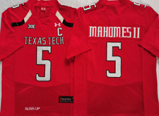 NEW Mens Texas Tech Red Raiders Red #5 MAHOMES II Football Custom Jersey