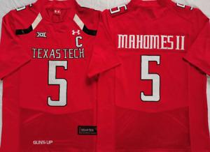 NEW Mens Texas Tech Red Raiders Red #5 MAHOMES II Football Custom Jersey