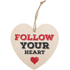 SHABBY CHIC WOODEN HEART PLAQUE - 'FOLLOW YOU HEART'