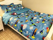 Blue New 6 Pieces Twin Size Kids Boys Bed In A Bag Comforter Set, Aircrafts