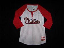 Victoria's Secret PINK Philadelphia Phillies Raglan 3/4 Sleeve T-Shirt BLING NWT