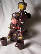 Decanter figure resting on lamppost 5 cups vintage