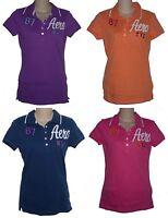 Womens AEROPOSTALE Aero NYC Graphic Jersey Polo Shirt NWT #6336