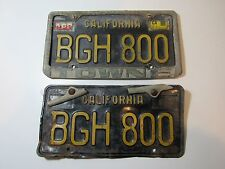 DMV CLEAR 1960's Car California Metal License PlateS BGH800 Black-Gold ID Tags