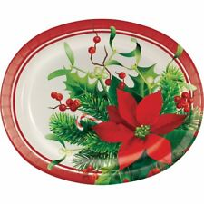 "Holiday Poinsettia Paper Oval Banquet Plates 10"" x 12"" 8 Ct"