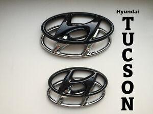 Hyundai Tucson N-Line / TL Set Emblem Cover hochglanz–schwarz blacked out Badge