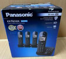 Panasonic KX-TGC424EB Telephone with Answer Machine, Set of 4 - Black 80374/AH