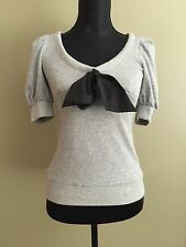 New Jill Stuart Grey Cotton Puff Shoulder Sweater with Silk Black Bow S