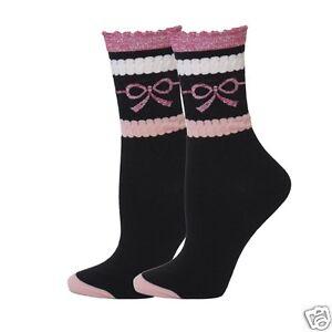 K.Bell Pink Bow Ruffle Top Crew Women's Acrylic Blend Black Socks New