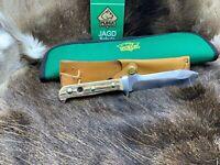 1973 Puma 6377 White Hunter Knife Stag Handles Leather Sheath & Puma Pouch Mint