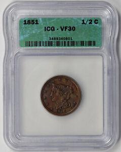1851 Braided Hair Half Cent 1/2C VF 30 ICG
