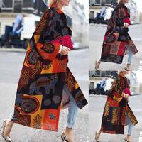 100% coton Femme Manteau Cardigans Simple Casual Manche Longue Imprimé Plus