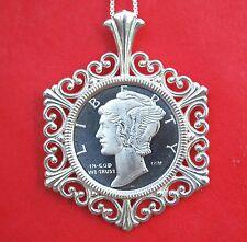Mercury Dime Liberty Design 1/10 oz. .999 Silver Coin Sterling Silver Necklace