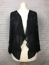 River Island Women's Black Beaded Open Front Coat Party Size 8 - BRAND NEW