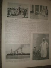 Printed photo Muley Abdul Aziz Sultan of Morocco and his bicycle 1901 ref AQ