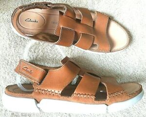 CLARKS TRISAND BAY TRIGENIC BROWN TAN LEATHER  SANDALS SHOES UK 9 G  EU43