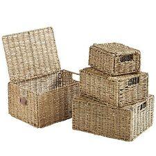 VonHaus Set of 4 Seagrass Wicker Storage Baskets Organizer with Handles and Lid