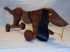 Vtg Folk Art Wood Dog Articulated Pull String Dachshund Toy Art Sculpture