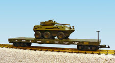 USA Trains G Scale  R1782 US ARMY Flat Car #G5059 With ARMOR VEHICLE - GREEN
