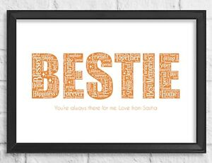 Personalised Birthday Gift Print For Bestie Best friend Name Christmas Gift