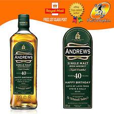 Personalizzata Irlandese singolo Malto Whisky BOTTIGLIA ETICHETTA COMPLEANNO OGNI OCCASIONE REGALO