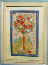 Hand made & painted ceramic wall hanging plaque landscape