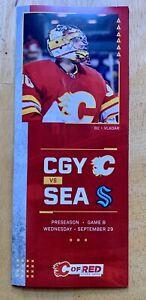 2021 Calgary Flames & Seattle Kraken Game Day Line Up Card.