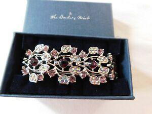 Danbury Mint Purple Swarovski Crystal Floral Stretch Bracelet Brand New NIB