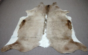 Large Taupe with white   Brazilian Cowhide rug 6.5x6 ft -3921