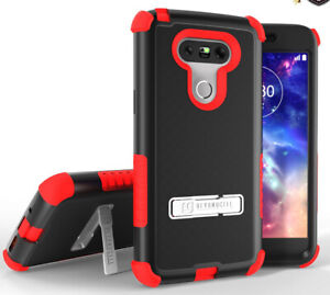 RED RUGGED TRI-SHIELD RUBBER GRIP SKIN HARD CASE COVER METAL STAND FOR LG G5