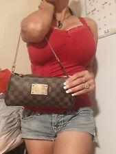 Auth. Louis Vuitton Eva Damier Ebene Clutch/Crossbody Handbag damaged pls read