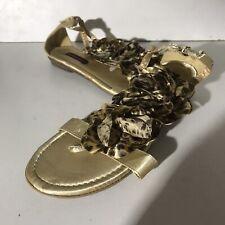 DOLLHOUSE Flat Sandals Leopard Print Fabric Flower Detail Strappy Open Toe UK 7