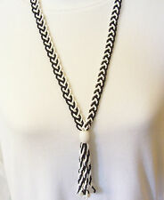 Antique Black White Flapper Braided Glass Seed Bead Clam Broth Tassel Necklace