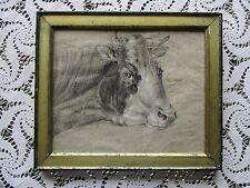 Antique Mid-19thC Folk Art Graphite Drawing of Cow in Lemon Gilt Frame