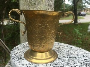 Rare Vintage Ornate Brass footed Vase Planter Stylized Dolphin Handles Gorgeous