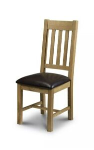 Julian Bowen Astoria Solid Oak Waxed Finish Wood Dining Chair Faux Leather Seat