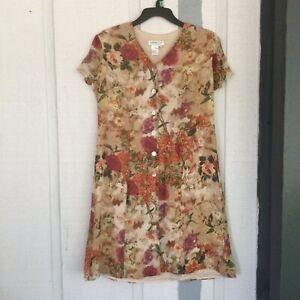 Coldwater Creek Floral Print Silk Button Up Dress Color Multi Size 10P