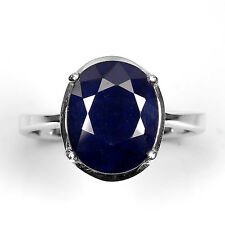 GENUINE OVAL 11x9mm. DEEP BLUE SAPPHIRE DIFFUSION 14K ON 925 SILVER RING SIZE 7