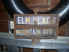 """Vintage Porcelain St. Sign N Caldwell NJ. Mountain Ave and Elm Near """"Soprano"""""""